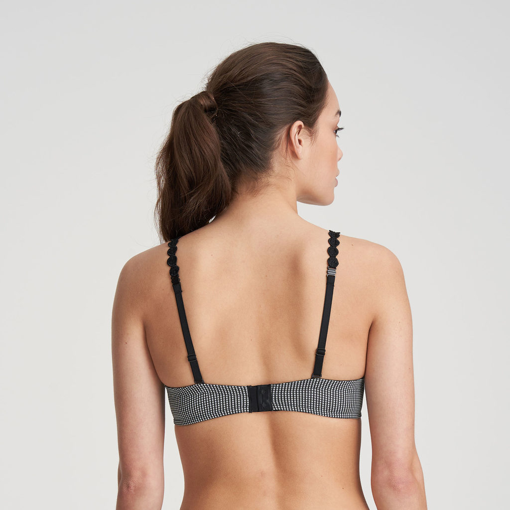 Close up back image of Marie Jo L'Aventure Tom Underwired Preformed Plunge Heart Shaped Padded Bra in Black and White Check