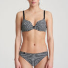 Front image of woman wearing Marie Jo L'Aventure Tom Rio Briefs in Black and White Check with matching bra