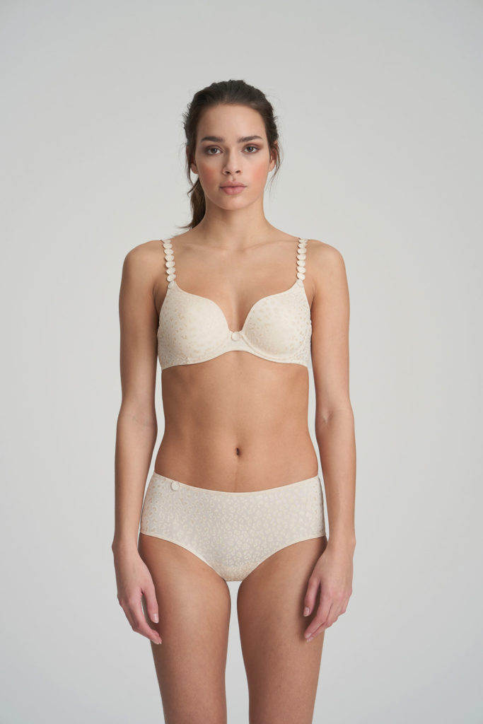 Front picture of Side image of Woman wearing Marie Jo L'Aventure Tom G Rio Brief in Pearled Ivory with matching bra