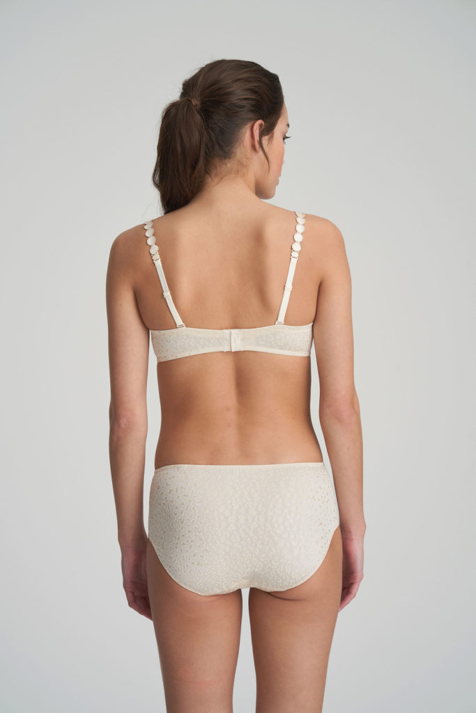 Back image of Woman wearing Marie Jo L'Aventure Tom G Rio Brief in Pearled Ivory with matching bra