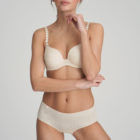 Front image of Woman wearing Marie Jo L'Aventure Tom G Rio Brief in Pearled Ivory with matching bra