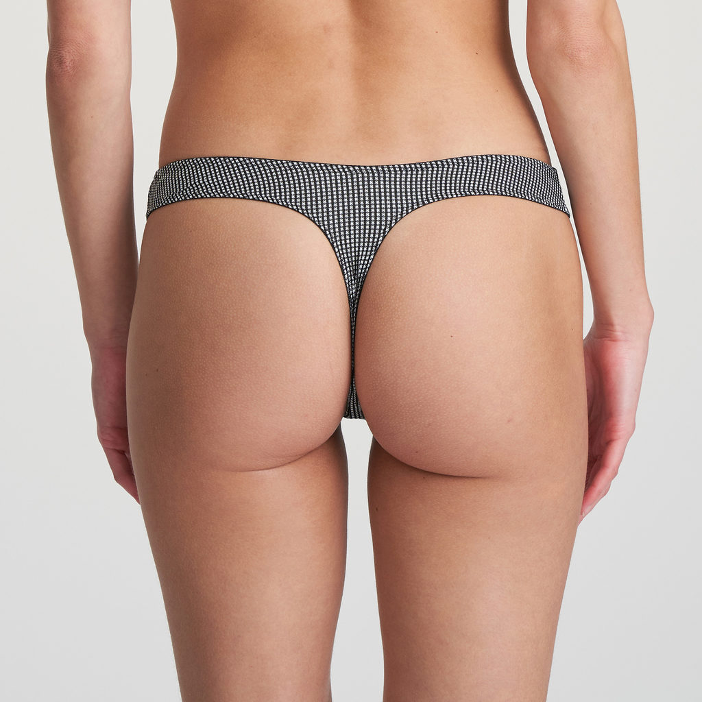 Back image of woman wearing Marie Jo L'Aventure Tom G-String in Black and White Check