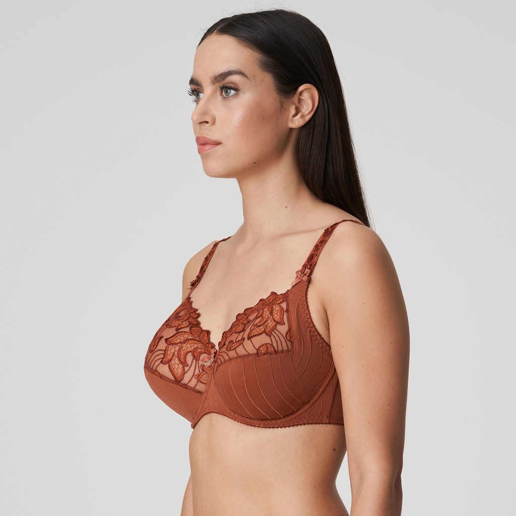 Side image of woman wearing Prima Donna Deauville in Cinnamon Red Full Cup Bra