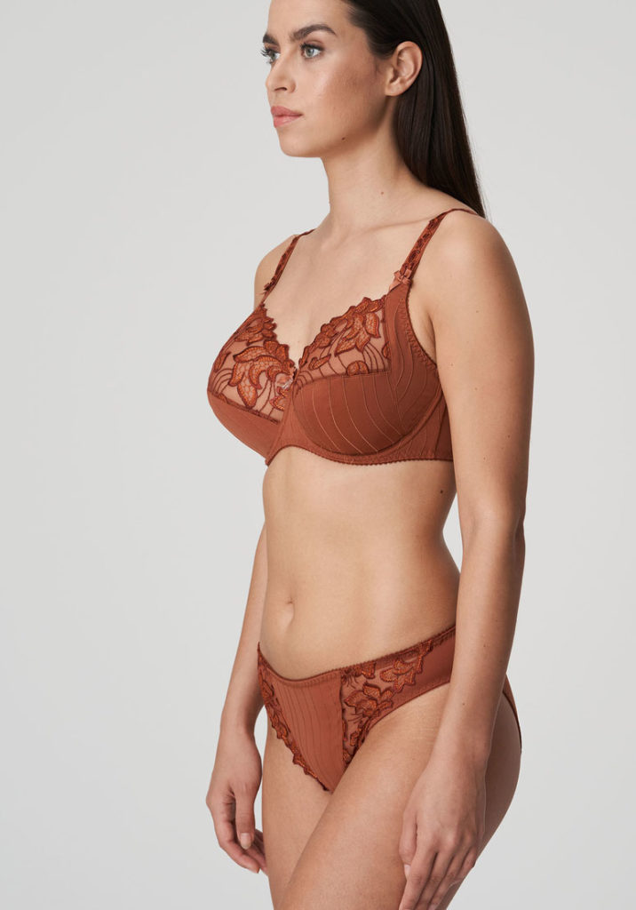 Side image of woman wearing Prima Donna Deauville in Cinnamon Red Rio Brief