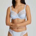 Deauville Heather Blue Full Cup Bra and Rio Brief front view with arms crossed over tummy