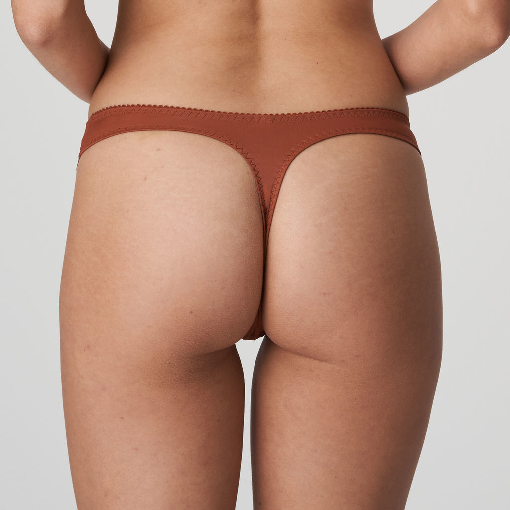 Back image of Woman wearing Prima Donna Deauville in Cinnamon Red G-String