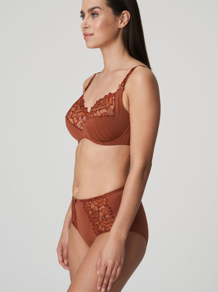 Side image of woman wearing Prima Donna Deauville in Cinnamon Red Shorts Brief with matching Bra