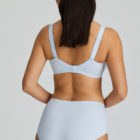 Deauville Heather Blue Short Brief and Bra back view with arms bent at elbows