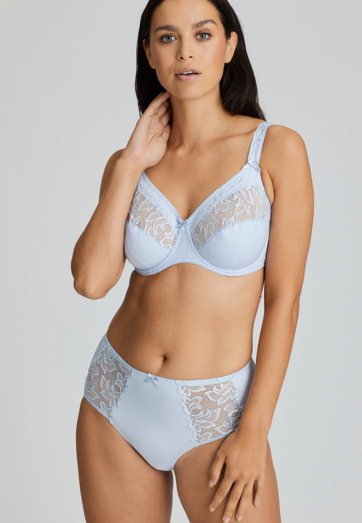Deauville Heather Blue Short Brief and Comfort Bra front view