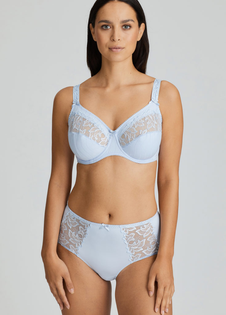 Deauville Heather Blue Short Brief and Comfort Bra front view arms down at sides