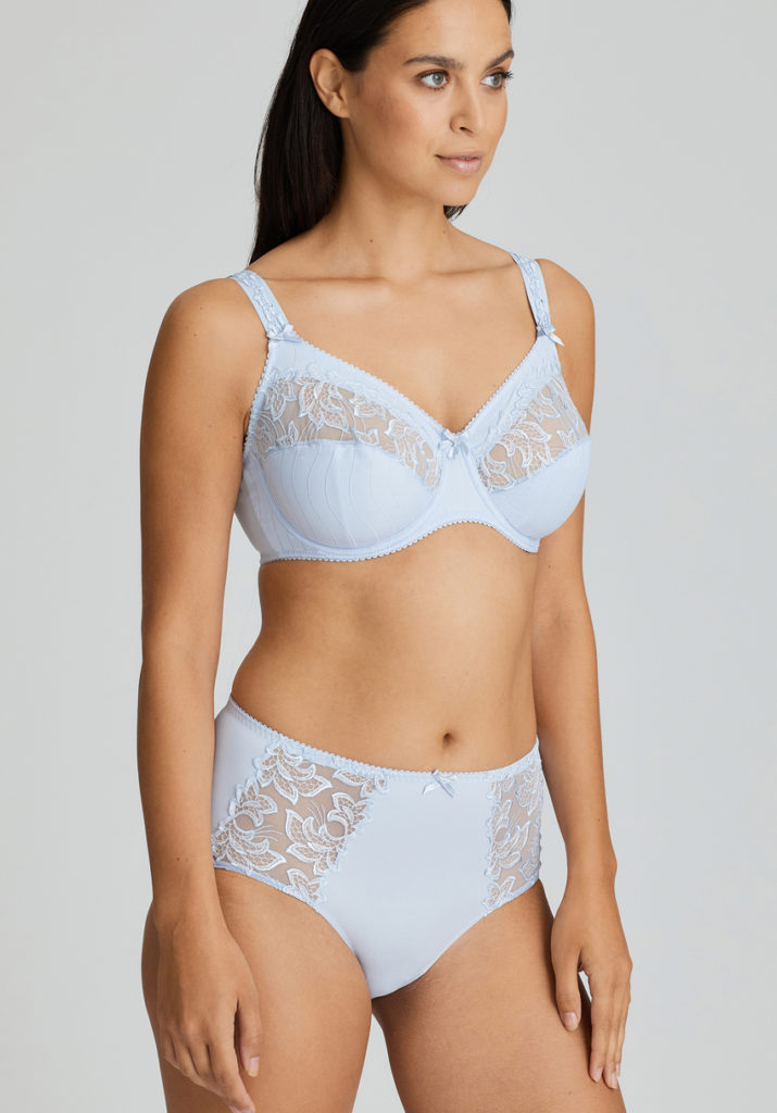 Deauville Heather Blue Short Brief and Comfort Bra slighty to the side view
