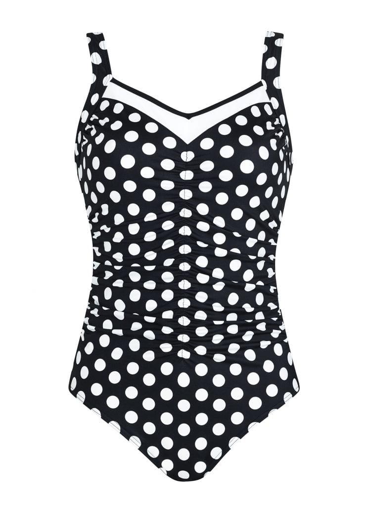 Front view Sunflair Black White Spots Mastectomy Swimsuit