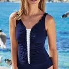 Front view of woman wearing Anita Florina Mastectomy Swimsuit