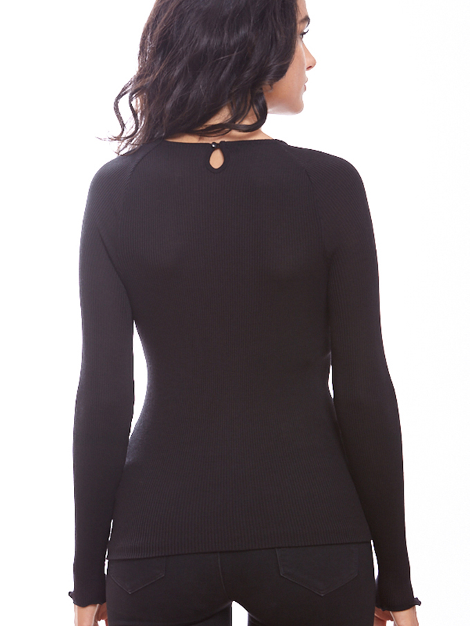 Leather look detail long sleeve top - SALE-13830