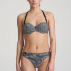 Front image of woman wearing Marie Jo L'Aventure Tom Underwired Padded Balconnet Bra in Black and White Check with matching Briefs