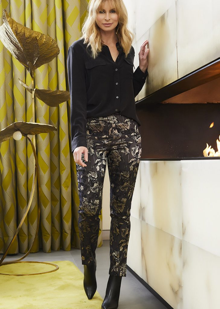 floral gold and black tailored trousers