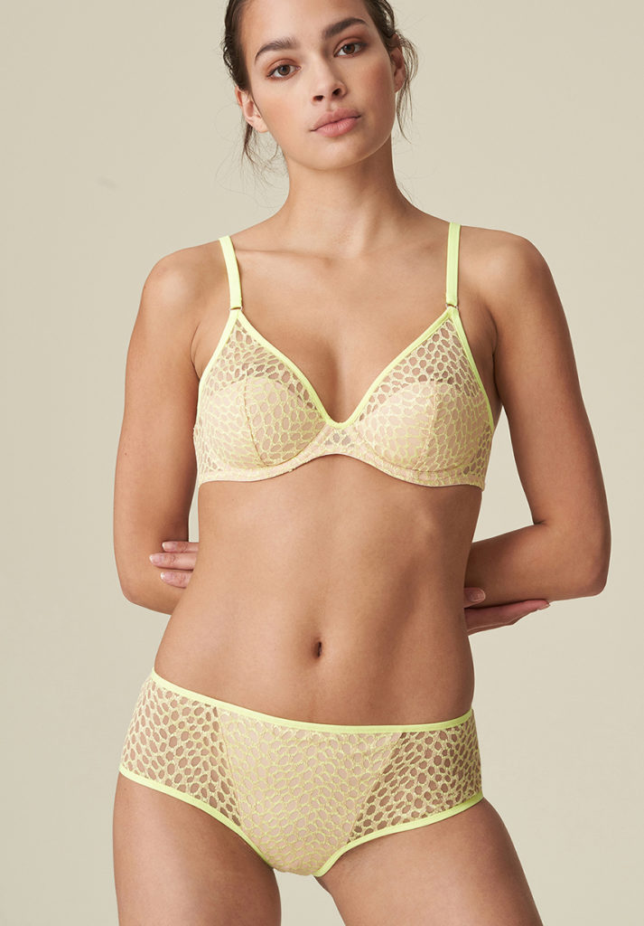 Marie jo Alexander half padded bra in limone with shorty brief