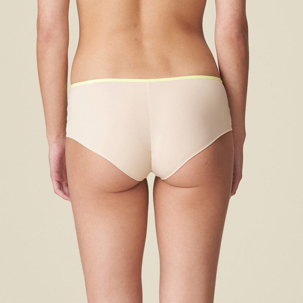 Lazer cut back view of shorty brief