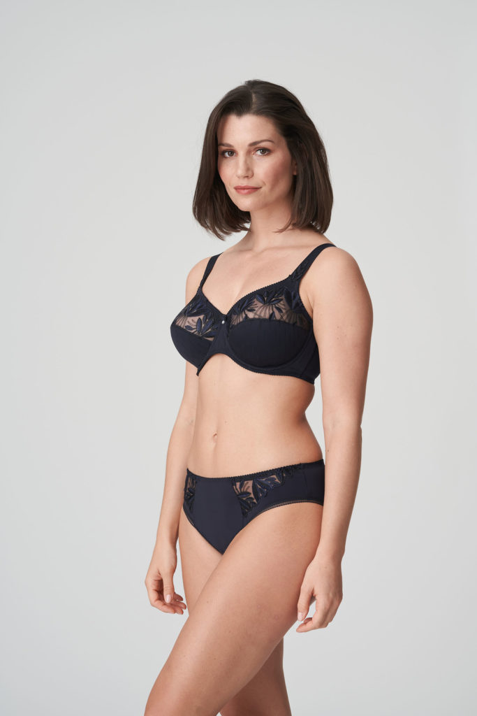 Woman wearing Prima Donna Orlando Night Blue Rio Brief with matching bra