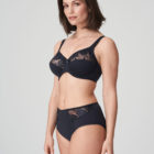 Woman wearing Prima Donna Orlando Night Blue Full Brief with matching bra