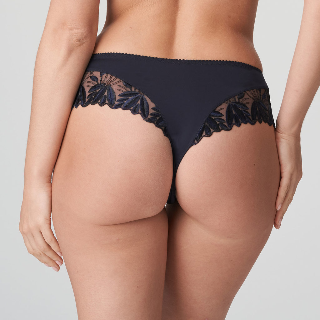 Back image of woman wearing Prima Donna Orlando Night Blue Luxury G-String