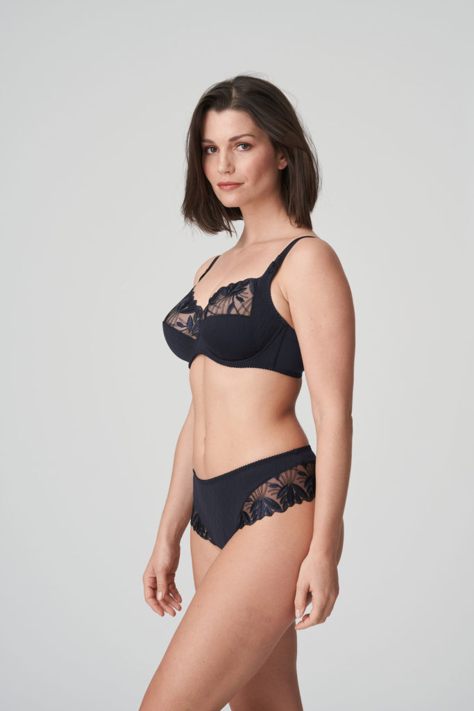 Woman wearing Prima Donna Orlando Night Blue Luxury G-String with matching bra