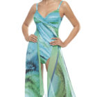 Long pareo with matching oceanic swimsuit