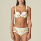 Mary Jo-neon flora -Amber- padded plunge bra and Rio brief