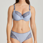 Blue striped Nyssa set of tulip balconnet bra and culotte brief
