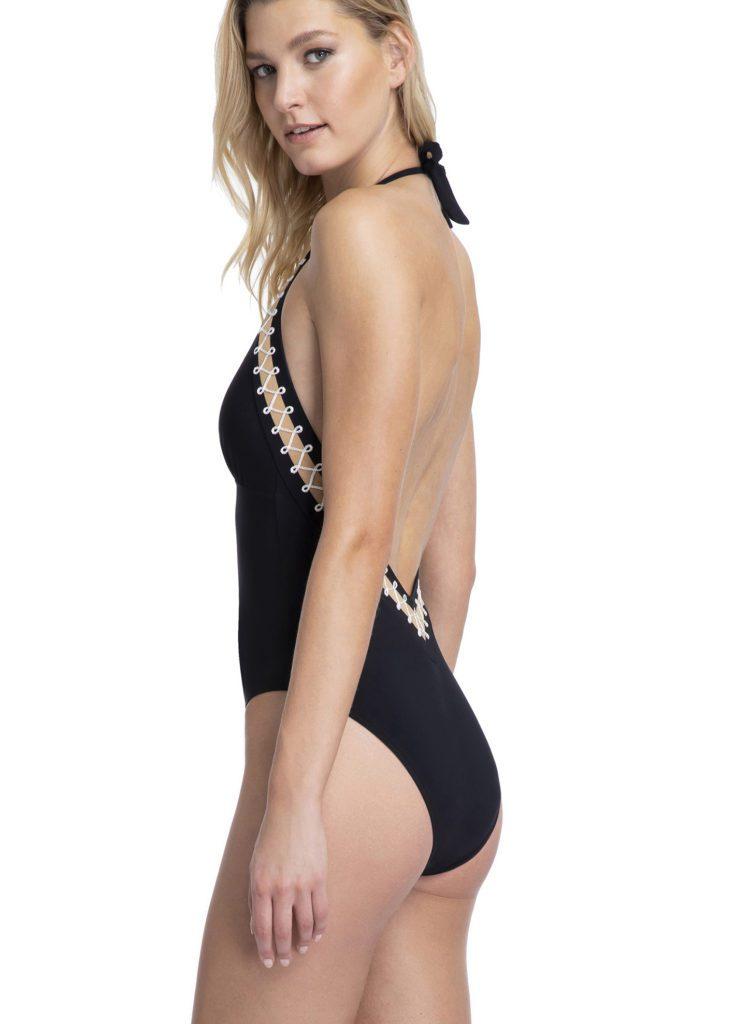 Cabaret backless halter neck swimsuit