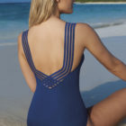 back of blue swimsuit