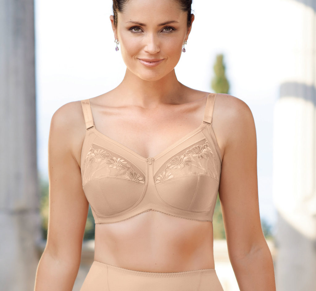 Woman wearing Close up of Anita Safina soft cup comfort bra in skin colour