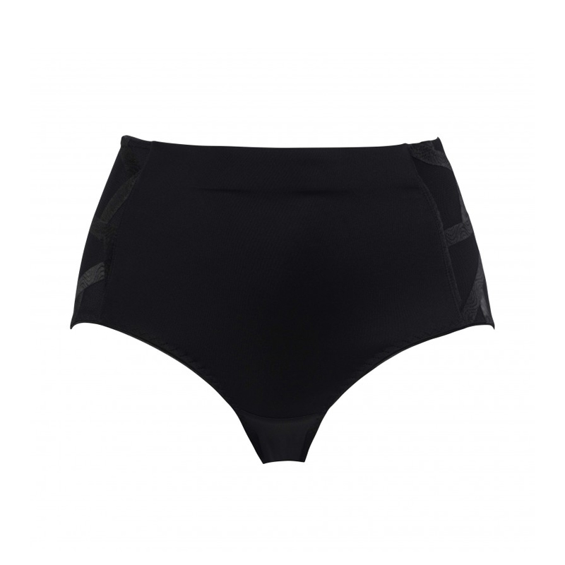 Back view of Louisa Bracq Control Full Brief is a high waisted brief in black