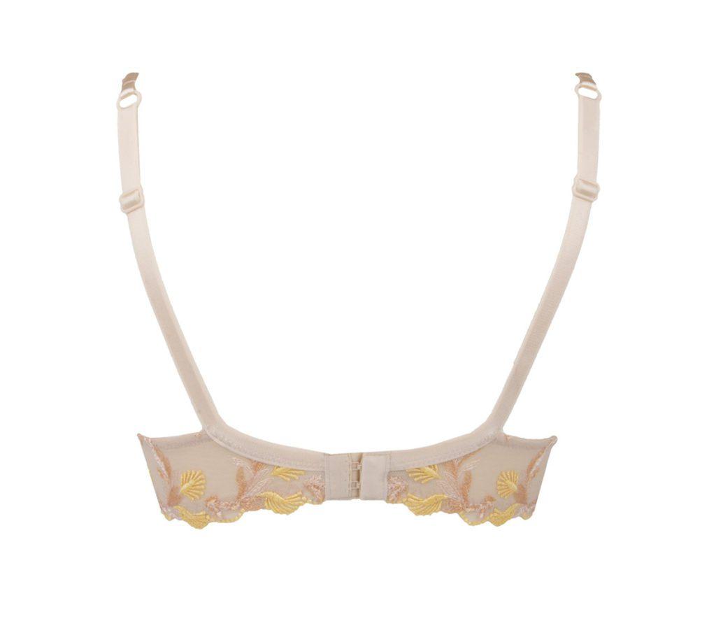 Back view of Lise Charmel Fleur Aphrodite plunge bra in skin colour