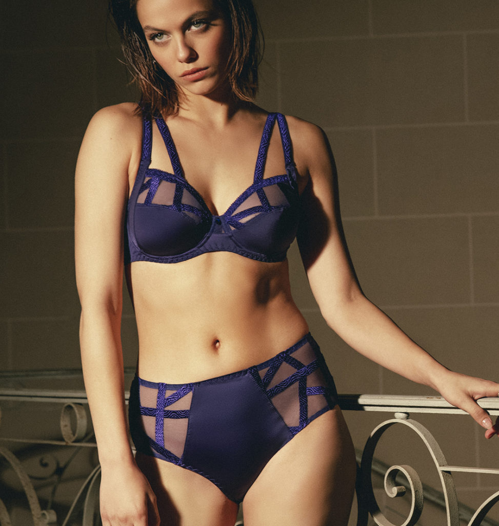 Woman wearing Louisa Bracq Série Full Cup Bra in Sapphire Blue