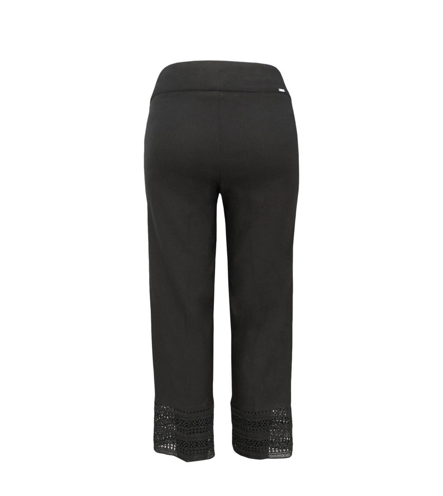 Back View of Womens Up! Pants Straight Legged Crop Trousers in Black