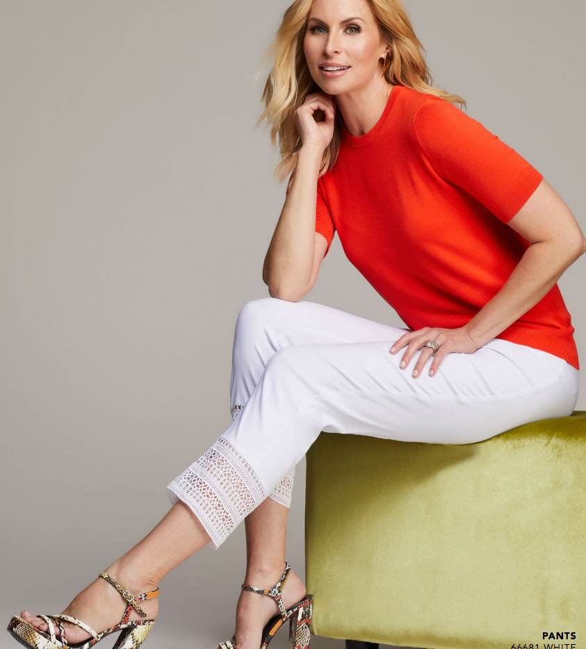 Women wearing Up straight Leg Cropped Trousers in White