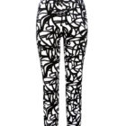 Front view of Up Straight Leg Trousers in Black and White Pattern