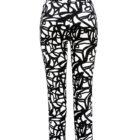 Back view of Up Straight Leg Trousers in Black and White Pattern