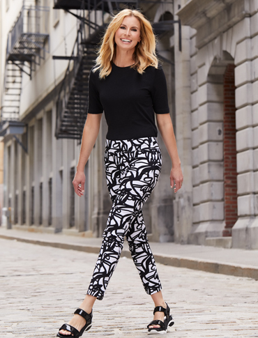 Woman wearing Up Trousers in black and white