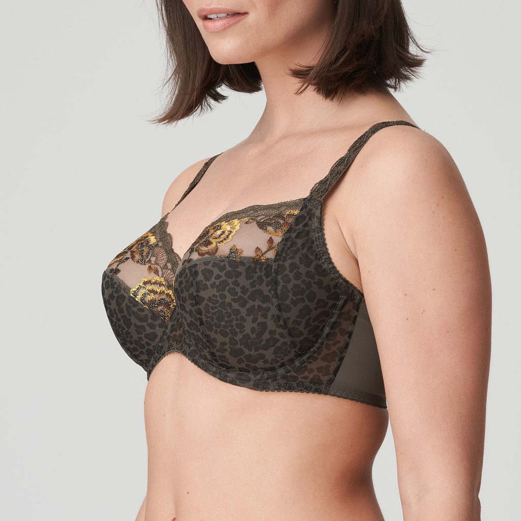 Close up side image of Prima Donna Palace Garden In Full Cup Bra Khaki Reptile