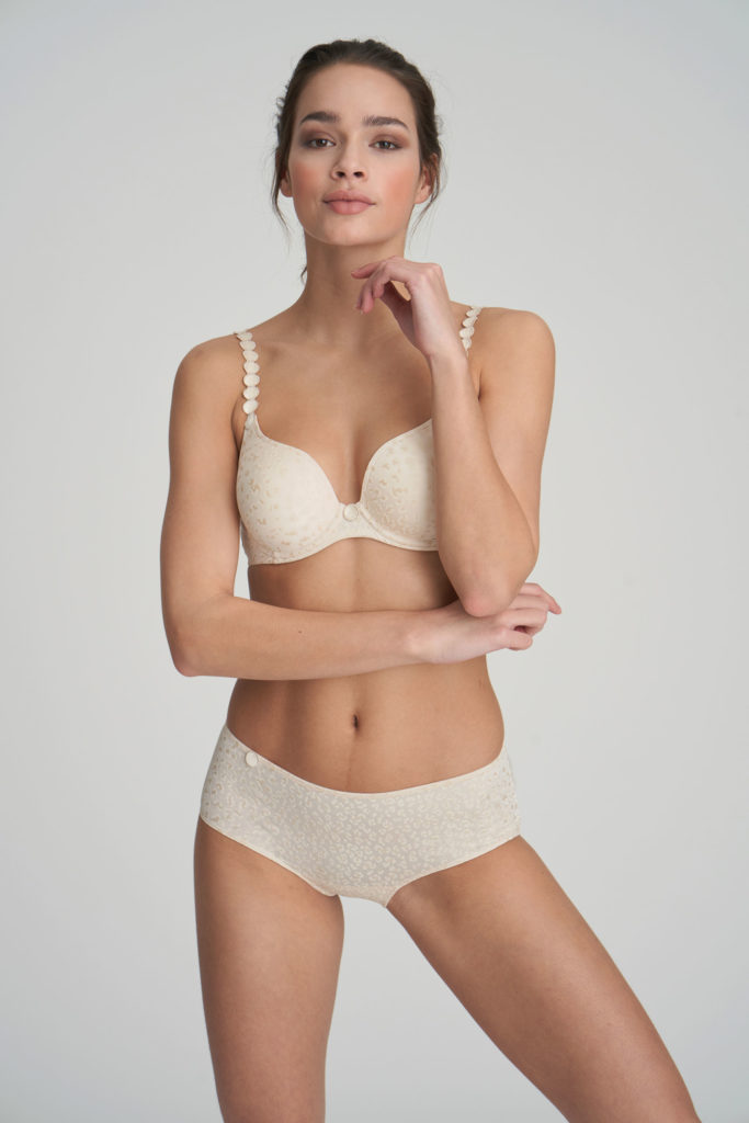Front image of woman wearing Marie Jo L'Aventure Tom Short in Pearled Ivory with matching bra