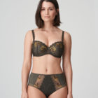 Front image of Woman wearing Prima Donna Palace Garden Full Brief In Khaki Reptile with matching bra