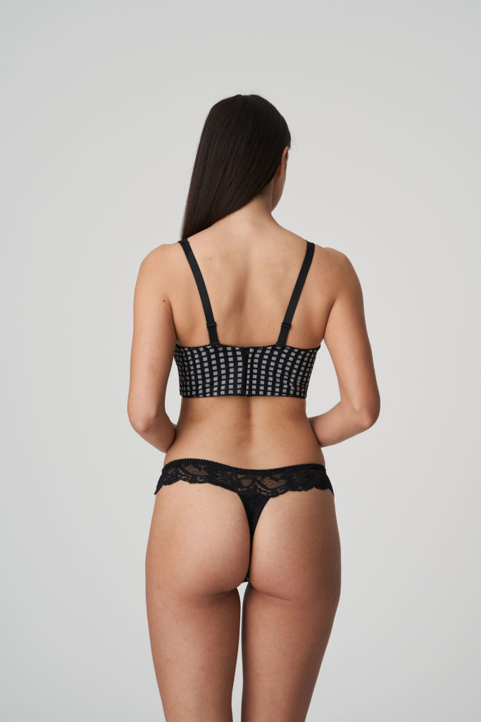 Back image of woman wearing Prima Donna Madison Opaque G-String In Crystal Black