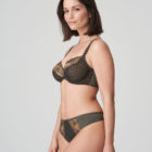 Woman wearing Prima Donna Palace Garden G-String In Khaki Reptile