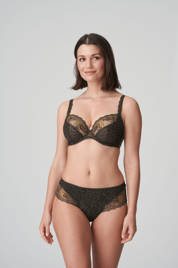 Front image of woman wearing Prima Donna Palace Garden Luxury G-String In khaki Reptile with matching bra