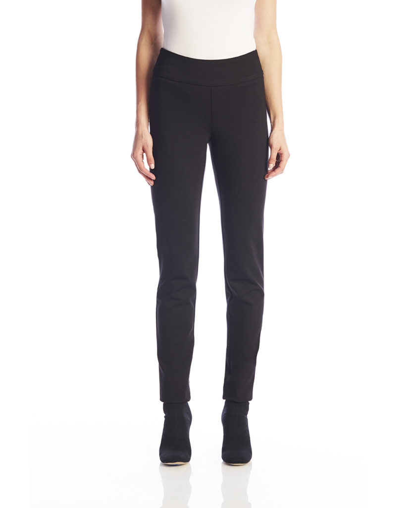 Front image of woman wearing Up! Pants Ponte Slim Leg Trouser in Black