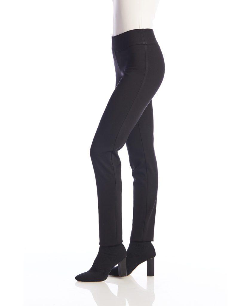 Side image of Up! Pants Ponte Slim Leg Trouser in Black