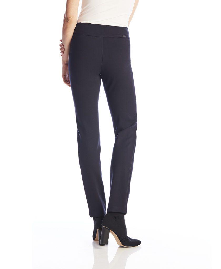 Back image of woman wearing Up! Pants Ponte Slim Leg Trouser in Navy