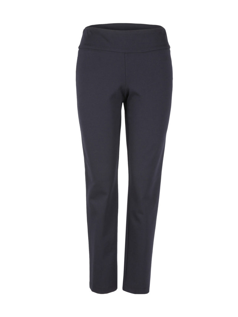 Front image of Up! Pants Ponte Slim Leg Trouser in Navy